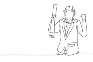 arquiteto de desenho de linha contínua com gesto de celebrar e capacete carregava papel de desenho de construção civil. negócio de sucesso. ilustração gráfica de vetor de desenho de linha única