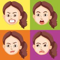 Mulher, com, diferente, emoções vetor
