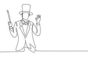 contínua uma linha de desenho mágico com gesto ok usando chapéu e segurando uma vara mágica pronta para entreter o público no programa de televisão. bom trabalho. ilustração gráfica de vetor de desenho de linha única