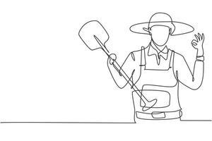 único desenho de linha de agricultor com gesto ok usando chapéu de palha e carregando uma pá para trabalhar na fazenda. conceito de negócio de sucesso. linha contínua moderna desenhar design gráfico ilustração vetorial vetor