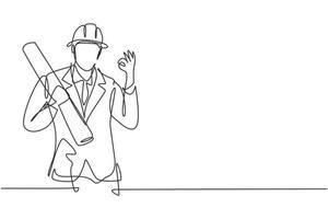 arquiteto de desenho de linha única contínua com gesto ok e usando capacete carregava papel de desenho de construção civil. negócio de sucesso. ilustração em vetor desenho gráfico dinâmica de uma linha