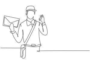 contínuo um desenho de linha carteiro usando chapéu, bolsa tipo estilingue e uniforme com o gesto ok segura o envelope para entregue no endereço residencial. trabalho de sucesso. ilustração gráfica de vetor de desenho de linha única