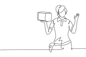 Contínua uma entregadora de desenho de linha com gesto okay, carregando a caixa da embalagem para ser entregue aos clientes com melhor atendimento. trabalho de sucesso. ilustração gráfica de vetor de desenho de linha única