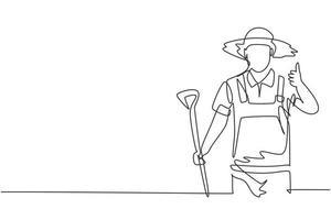 único desenho de linha do fazendeiro com um gesto de polegar para cima, usando um chapéu de palha e carregando uma pá para trabalhar na fazenda. moderna linha contínua desenhar design gráfico ilustração vetorial. vetor
