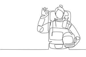 contínua uma linha desenhando uma astronauta feminina com um gesto ok vestindo trajes espaciais para explorar o espaço sideral em busca dos mistérios do universo. bom trabalho. ilustração gráfica de vetor de desenho de linha única