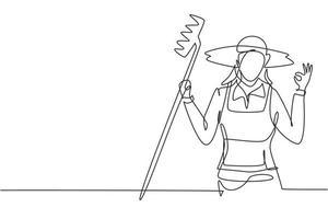 contínuo um desenho de linha agricultora com gesto ok usando chapéu de palha e carregando ancinho para trabalhar na fazenda. conceito de negócio de sucesso. ilustração gráfica de vetor de desenho de linha única