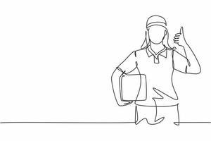 desenho único de uma linha da entregadora com um gesto de polegar para cima, carregando a caixa de embalagem para ser entregue aos clientes com o melhor serviço. ilustração em vetor gráfico desenho linha contínua
