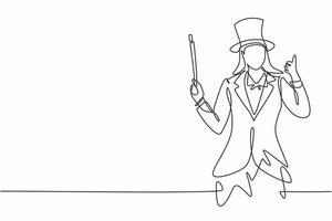 desenho de linha única de uma mágica feminina com um gesto de polegar para cima usando um chapéu e segurando um bastão mágico pronto para entreter o público. ilustração em vetor gráfico desenho linha contínua
