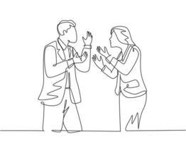 único desenho de linha contínua do jovem empresário irritado e empresária debatendo projeto de negócios no escritório. ilustração em vetor design gráfico de uma linha conceito de falha de acordo de negócios