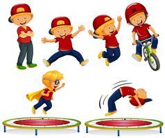 Um menino fazendo atividades ao ar livre vetor