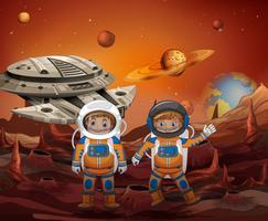 Astronauta, explorando o novo planeta vetor