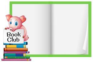 Um porco e um caderno em branco vetor