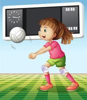 Menina jogando vôlei no campo vetor