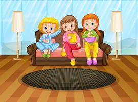 Três meninas, comer, lanches, em, sala de estar vetor