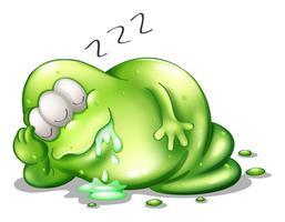 Um, greenslime, monstro, dormir vetor