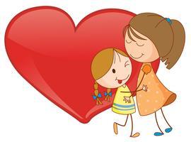 Meninas e coração vetor