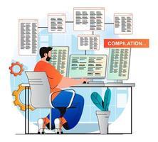 conceito de trabalho de programação em design plano moderno. o desenvolvedor faz a compilação do programa. o homem cria software, trabalhando no computador. aplicativos de desenvolvimento, otimização e teste. ilustração vetorial vetor