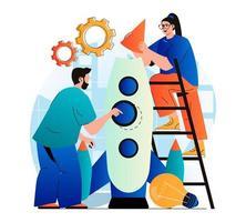 conceito de inicialização de negócios em moderno design plano. equipe de sucesso lança novo projeto. homem e mulher criam uma nova empresa juntos. colaboração, desenvolvimento de carreira e investimento. ilustração vetorial vetor