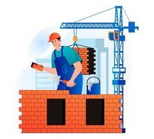 conceito de engenheiro de construção em moderno design plano. o construtor faz alvenaria e constrói a parede da casa. pedreiro ou faz-tudo trabalhando no canteiro de obras. negócio imobiliário. ilustração vetorial vetor