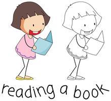 Livro de leitura de menina Doodle vetor