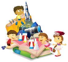 Livro de ciências com crianças e equipamentos vetor