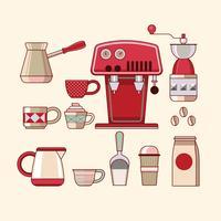 Grande conjunto de equipamentos de café vetor