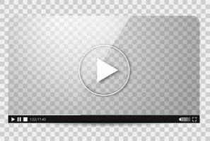 Design do player de vídeo. Barra de reprodução de mídia de filme de interface. Ilustração vetorial plana vetor