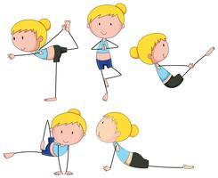 Mulher, fazendo, diferente, ioga, postos vetor