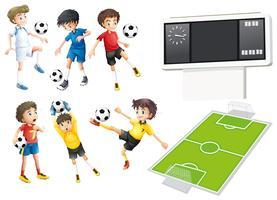 Jogadores de futebol e campo vetor