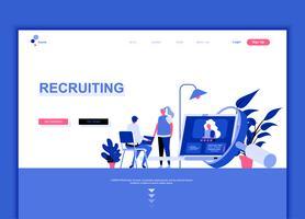 Conceito de modelo de design moderno web página plana de recrutamento