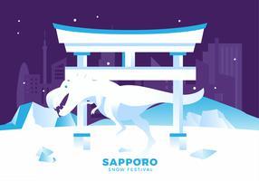 Ilustração em vetor Festival de neve de Sapporo