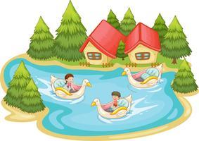 Cena de verão à beira do lago vetor