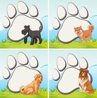 Design de moldura com cães domésticos vetor