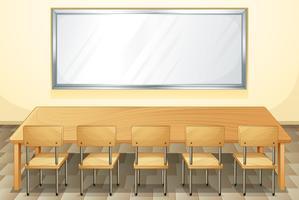 Sala de aula com quadro branco e cadeiras vetor