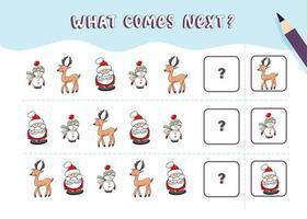 o que vem a seguir com personagens de natal bonitos desenhados à mão. ilustração do vetor dos desenhos animados. planilha lógica para crianças.