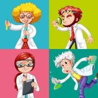 Quatro cientistas fazendo experimentos vetor
