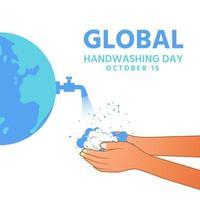 dia mundial da lavagem das mãos abrir água e lavar as mãos vetor