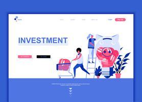 O conceito moderno do molde do projeto do página da web do plano do investimento empresarial decorou o caráter dos povos para o desenvolvimento do Web site e do Web site móvel. Modelo de página de destino plana. Ilustração vetorial