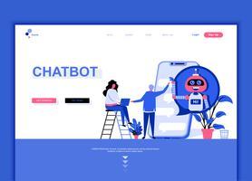 Conceito de modelo de design de página web plana moderna do Chat Bot