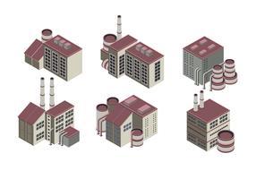 Enorme coleção de edifícios industriais isométricos vetor