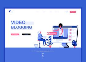 Conceito de modelo de design de página web plana moderna de vídeo Blogging
