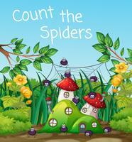 Aranha, em, cogumelo, casa vetor