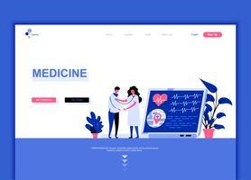 Conceito de modelo de design moderno web página plana de medicina e saúde