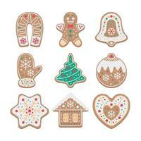 coleção de biscoitos de gengibre fofos com cobertura colorida vetor