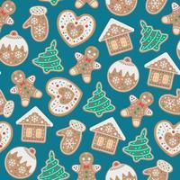 padrão de natal com biscoitos de gengibre vetor