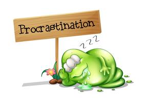 Um monstro verde procrastinando ao lado de uma tabuleta vetor