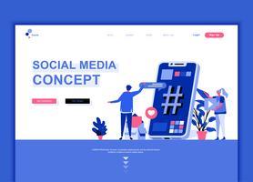 Conceito de modelo de design moderno web página plana de mídias sociais