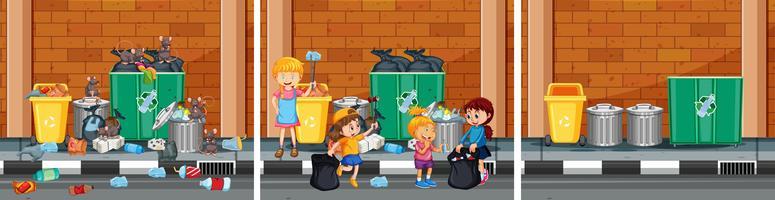 Conjunto de limpeza de cenas de rua vetor