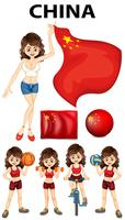 China representante e muitos esportes vetor