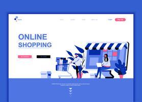 Conceito de modelo de design moderno web página plana de compras on-line vetor